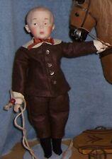 "Vintage 14"" Reproduction Antique Bisque Head Gerbruder Heubach WHISTLER Boy Doll"