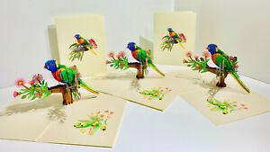 Origami Pop Cards Rainbow Lorikeet Bird Gum NativeFlower 3D Pop Up Greeting Card