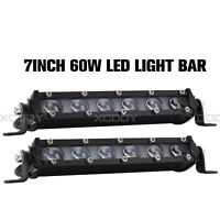 PAIR 7INCH SUPER SLIM 60W LED LIGHT BAR SpotWORK OFFROAD DRIVING LAMP ATV 4WD