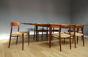 Niels Otto Moeller Eßtisch außziehbar 6 Stühle Vintage 60er Jahre Teak Design