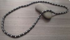 Black Wood Tube And Metallic Silver Hematite Stone Beaded Men Wire Necklace Mens