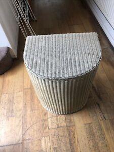 Bin Vintage Original Lloyd Loom White Half / Semi Circle Laundry Basket 1962