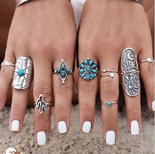 9pcs Silver Boho Women Stack Plain Above Knuckle Ring Midi Finger Tip Rings Set