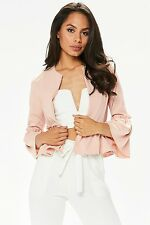 womens Lace Ruffle Frill Bell Sleeve Open Front Peplum Office Coat Blazer Jacket