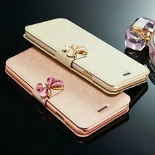 Fashion 3D Butterfly Bling Strass Flip PU Leather Card Pocket Lot Case Cover