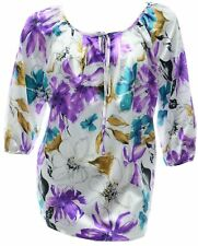 Womens 16 18 20 New Satin Touch Print Kaftan Tunic Top Purple Floral Ladies