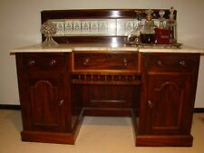 Antique Mahogany, Marble Top Washstand w/- Hand Painted Tile Back