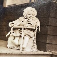 Baby In Baby Chair On Porch Bonnet 1930's Super Cute!  Big Smile Picture Vintage