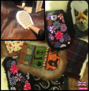 Colourful Real Sheepskin & patterned coat shine mitts. Grooming, horsey gift NEW
