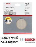 Bosch Random Orbit Sanding Discs - M480 Net  Wood+Paint - 150mm - Pk 5 ALL GRITS