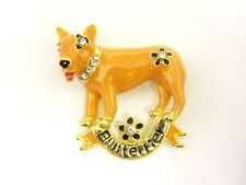 PIN BROOCH BULL TERRIER DOG PET ORANGE COLOR ENAMEL CRYSTAL JEWELRY RHINESTONE