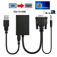 BE_ VGA Male To HDMI Female 1080P HD+ Audio TV AV HDTV Video Cable Converter Ada