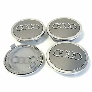 4x Audi Nabendeckel grau Felgendeckel Nabenkappen Emblem Durchmesser=69mm NEU