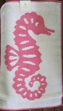 Pottery Barn Kids Seahorse Bath Mat NWT Pink & White Ocean Beach Nautical SOFT