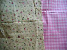 coupons tissu  petites fleurs + vichy rose