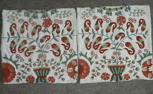 """2 POTTERY BARN Crewel Embroidered Throw Pillow Sham Covers 19"""" x 19"""""""
