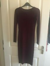 River Island Burgundy Long Bodycon Dress - Size 8