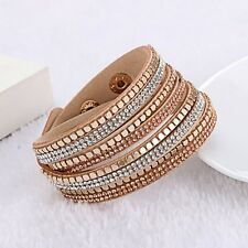 Swarovski Elements Gold Stud & Suede Double Wrap Strap Bracelet Cream