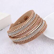 Swarovski Elements Gold Stud & Leather Double Wrap Strap Bracelet Cream