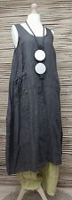 LAGENLOOK 100% LINEN AMAZING SPRING/SUMMER LONG DRESS*CHARCOAL*SIZE 12-18