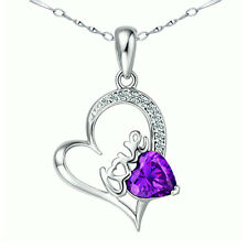 Sterling Silver 1.54 ct Created Amethyst Heart Shaped Gemstone Pendant Necklace