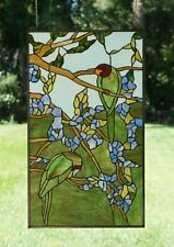 """20"""" x 34"""" Handcrafted stained glass window panel 2 parrots birds on the tree"""