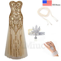 1920s Flapper Dress Great Gatsby Dresses Wedding Gown Bridesmaid Formal Costume