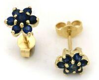 Damen Ohrringe echt Safir Gelbgold 585 Stecker Gold 14 karat Saphir Ohrstecker
