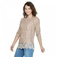 NWT Xhilaration Women's Long Sleeve Round Neck Lace Trim Sweater Knit Top