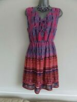 JOE BROWNS JAZZY FLATTERING PINK BLUE ORANGE CHEESECLOTH SLEEVELESS TOP SIZE 18