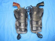 .45 Cal Revolver, Western Leather Holster, Matching Pair, Double Loop Style