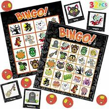 32 Halloween Bingo Game Cards (4x4 & 5x5) – 16 Players for Halloween Party