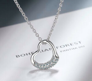 Crystal Heart Pendant 925 Sterling Silver Chain Necklace Womens Jewellery New UK