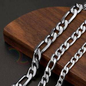 """Men Stainless Steel Diamond Cut Figaro Necklace 6/8mm Chain 18-36"""" Link*C23"""
