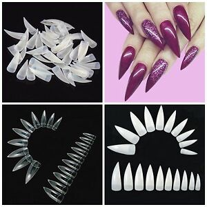 STILETTO Half Cover CLAW Nail Tips Natural, Clear or White **YOU CHOOSE!**