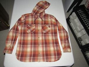 CARHARTT WOMEN'S MULTI-COLORED PLAID BUTTON UP HOODED FLANNEL SHIRT SIZE L 12/14