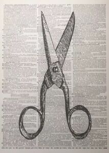 A3 Vintage Scissors Print Dictionary Page Wall Art Picture Hairdressers Barbers