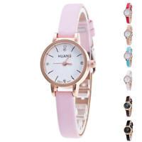 Women's Fashion Geneva Leather Crystal Stainless Steel Analog Quartz Wrist Watch