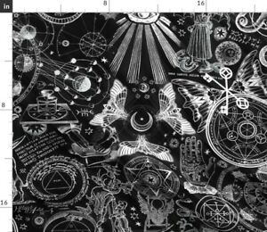 Black & White Occult Witch Magic Alchemy Gothic Spoonflower Fabric by the Yard
