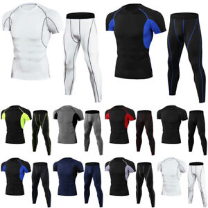Mens Compression Shirts+Leggings Base Layer Activewear Set Gym Fitness Tops Pant