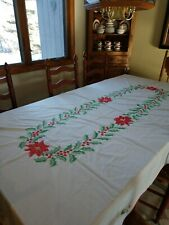 Gorgeous Handmade Cross Stitched Christmas Holiday Table Cloth One Of A Kind!