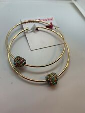 $35 Betsey Johnson Pave Heart XL Large  Hoop Earrings - Pastel  AB3