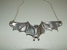 "Vintage Sterling Silver Gothic Vampire Bat Necklace with Huge 6"" Wingspan 85g"