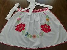 New listing Half Apron made w/Vtg White Tablecloth w/HandEmbr. & Applique Red Flowers Preown