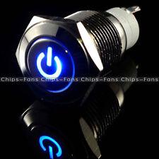 Ojo Angel 16mm de energía LED Pulsador símbolo de Metal interruptor de encendido/apagado 12V Azul