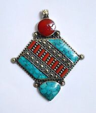 Ethnic Sterling Silver Pendants Tibetan Art  Turquoise and Coral stone  Q4
