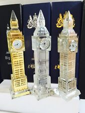 3 X Metal Plated Crystal Glass London Big Ben Clocks (Large) Souvenir Gift