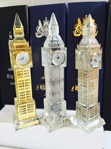 3 X Metal Plated Crystal Glass London Big Ben Clocks (Large) Souvenir Gift