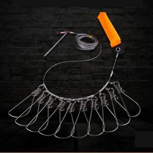 Stainless Steel Fishing Stringer Clip Kayak Fish Stringer Lock/Holder Foam Float