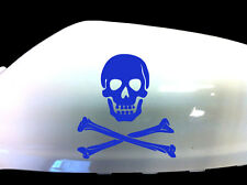 Skull and Crossbones Car Stickers Wing Mirror Styling Decals (Set of 2), Blue